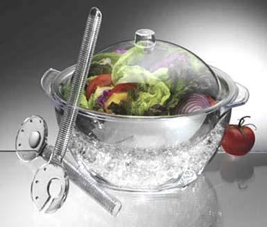 Σαλατιέρα ακρυλική με καπάκι & σετ σαλάτας