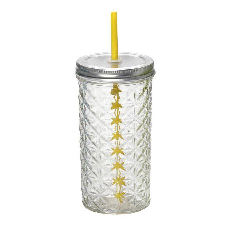 Ποτήρι με καπάκι και καλαμάκι 475ml 8,5x16 cm