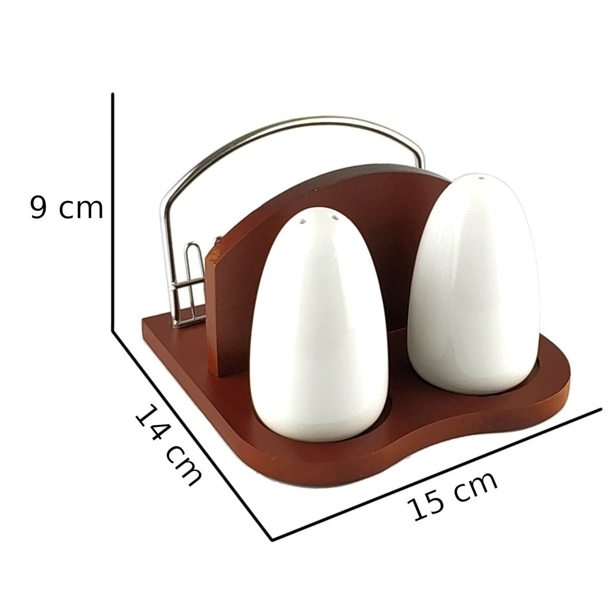 Σετ αλατοπίπερο και χαρτοπετσετοθήκη σε ξύλινη βάση