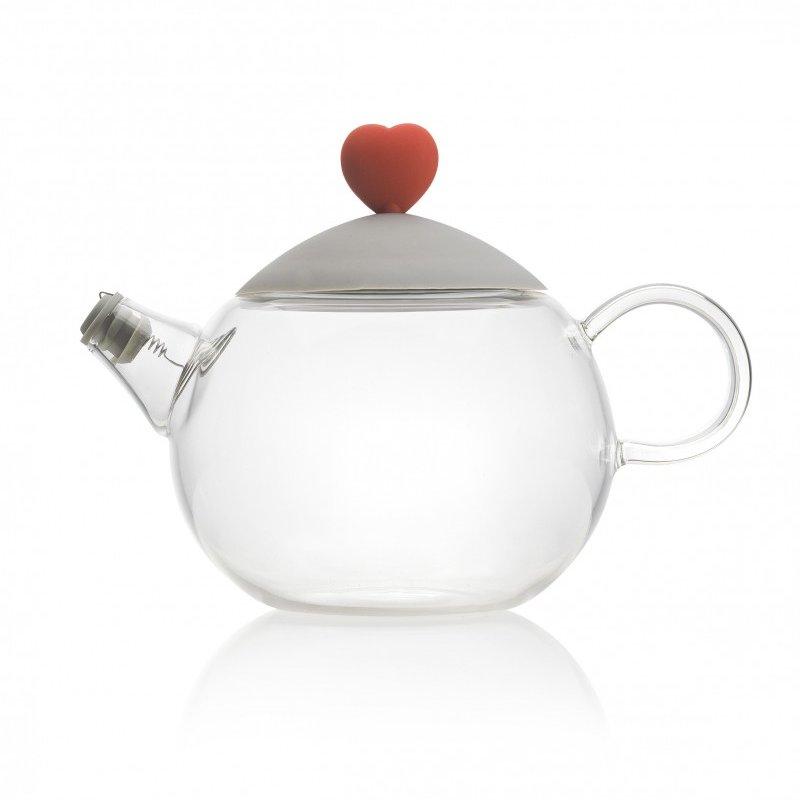 Heart τσαγιέρα γυάλινη με γκρι καπάκι 450ml Brandani