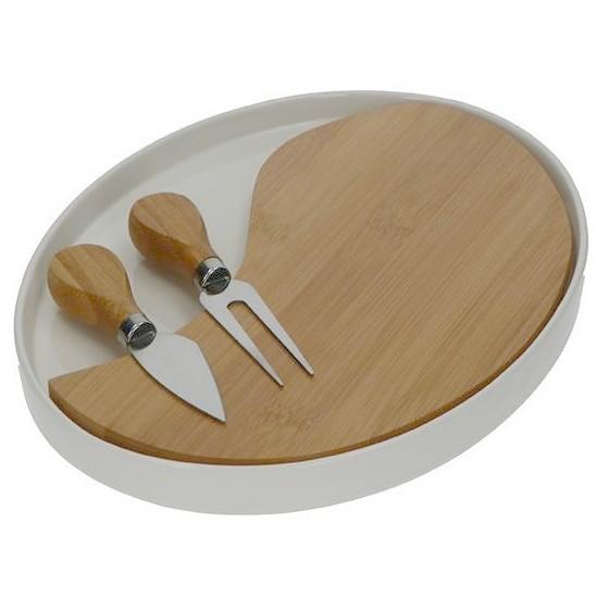 Δίσκος τυριών πορσελάνη-bamboo με 2 μαχαίρια