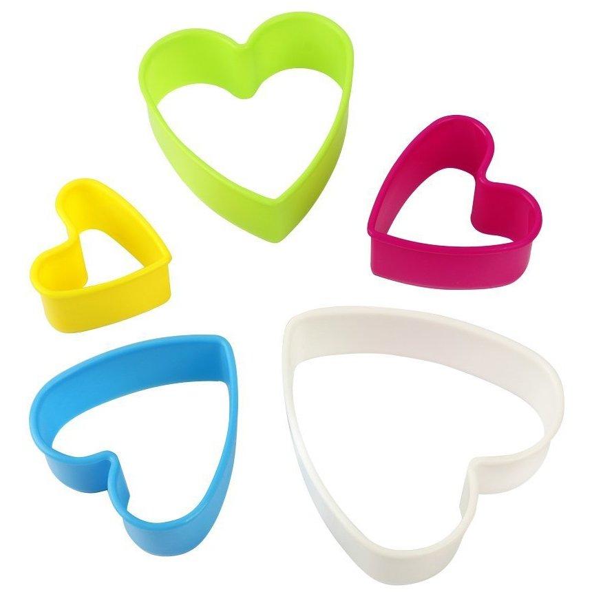 Σετ 5 πλαστικά κουπάτ καρδιά