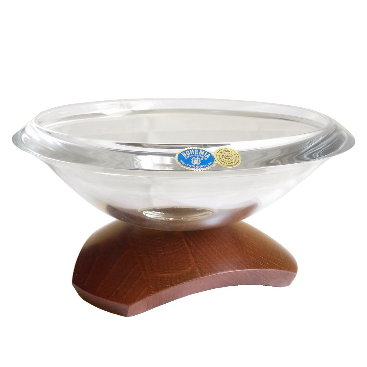 Κρυστάλλινο κουπ Βοημίας 21 cm σε ξύλινη βάση