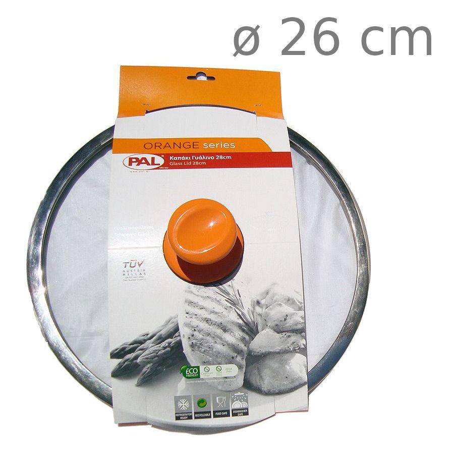 Καπάκι κατσαρόλας γυάλινο Pal Orange 26 cm