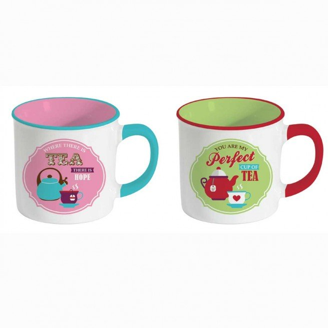Retro Break Tea σετ 2 κούπες 300 ml ροζ-πράσινο