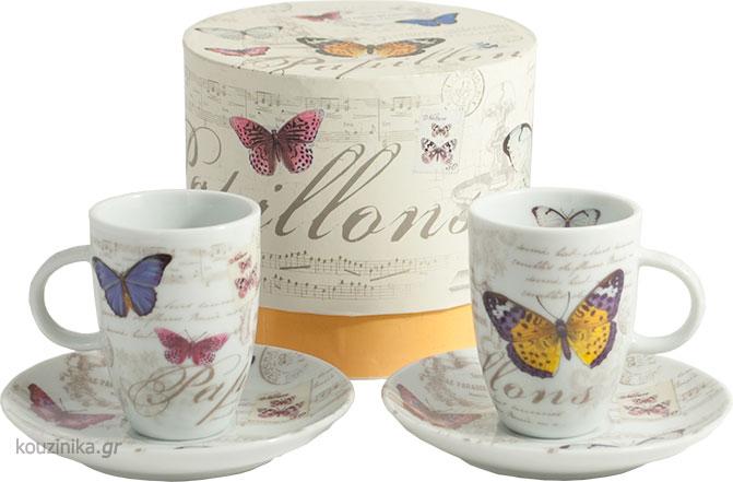 Papillons σετ 2 φλιτζάνια espresso