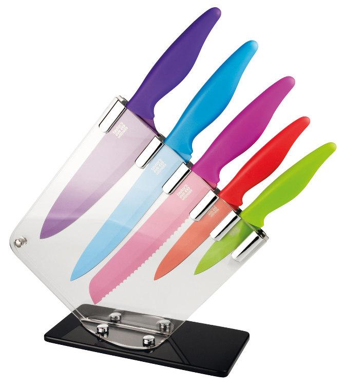 Σετ 5 χρωματιστά μαχαίρια σε βάση
