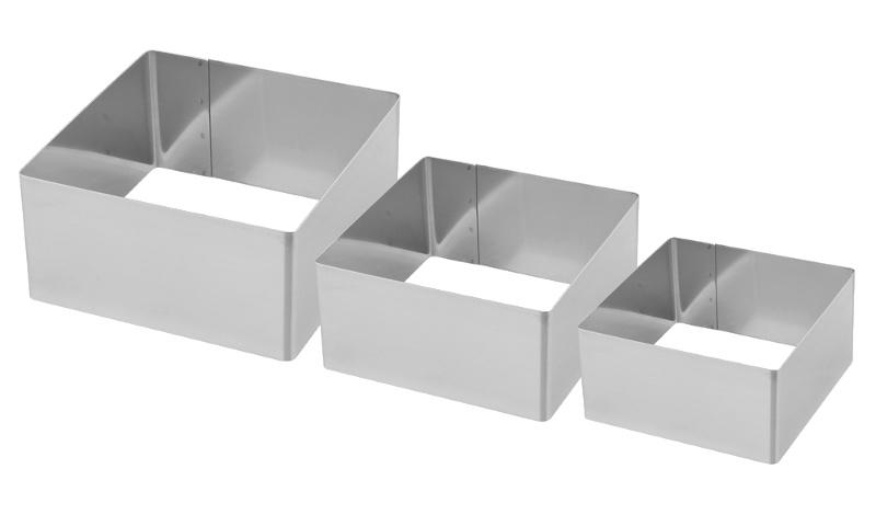 Σετ 3 τεμ. τετράγωνα ανοξείδωτα τσέρκια 6-8-10 εκ. Fest ergoline