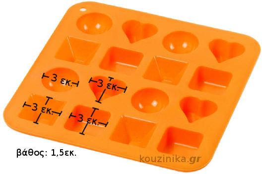 Φόρμα σιλικόνης για 16 σοκολατάκια/παγάκια