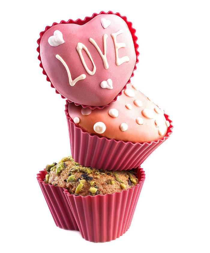 Σετ 6 φορμάκια σιλικόνης Cupcake Heart