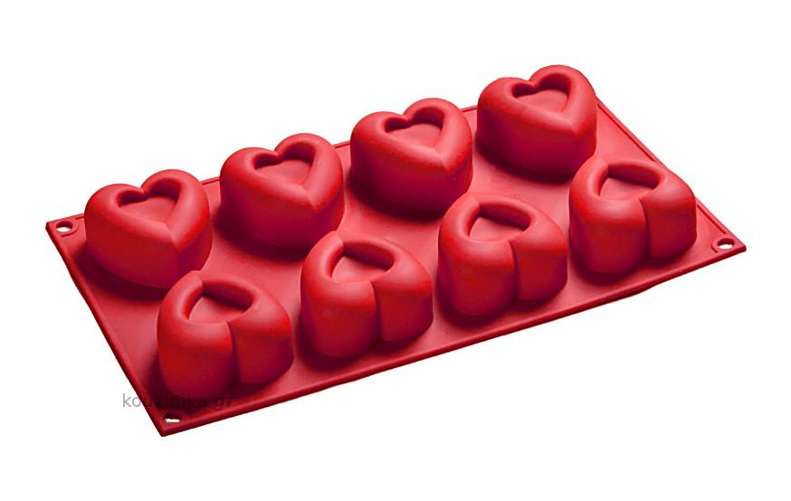 Φόρμα σιλικόνης 8 θέσεων Big Heart Passion
