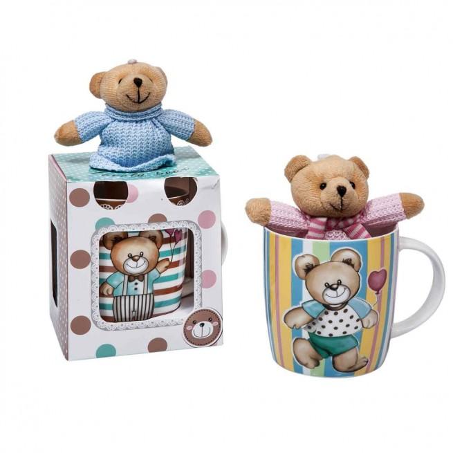 Κούπα με δώρο αρκουδάκι 415ml new bone china
