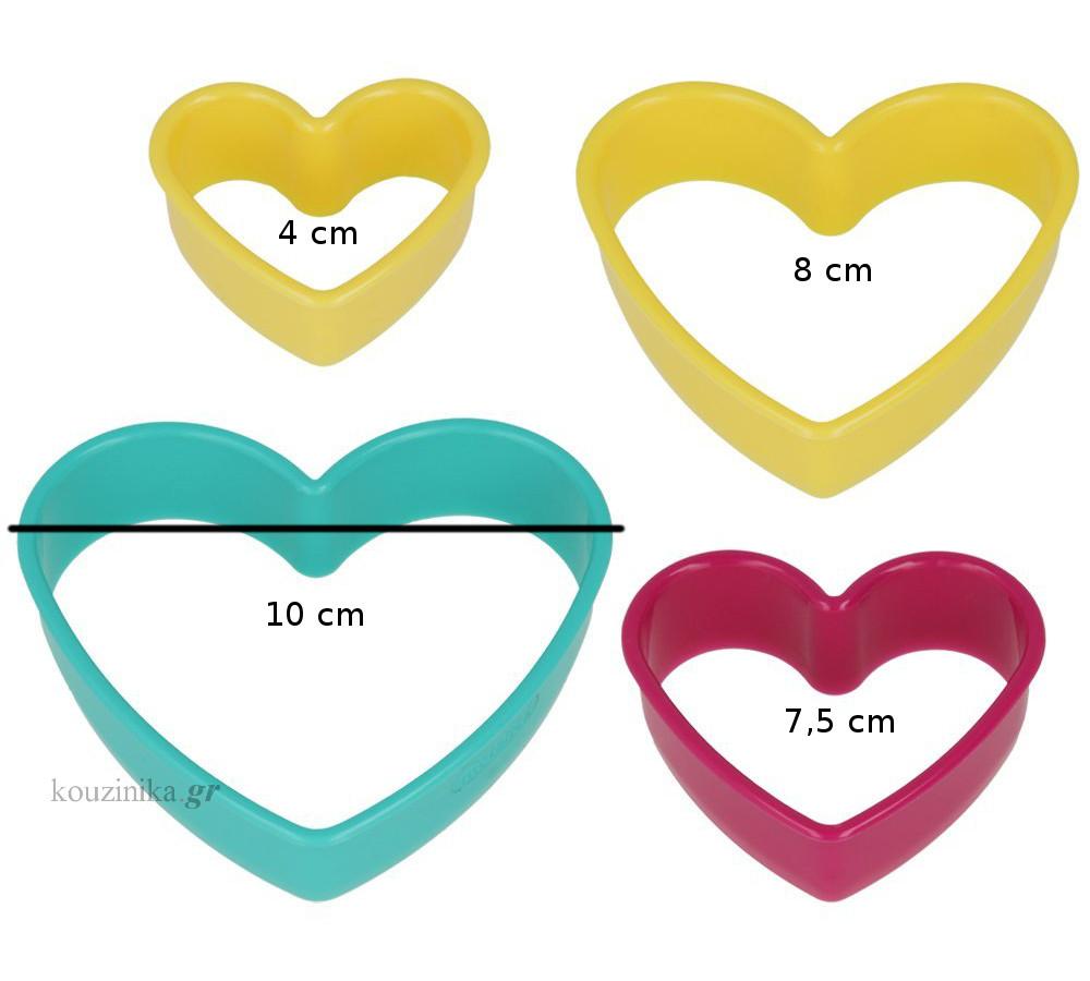 Κουπάτ πλαστικά καρδιά σετ 4 τεμ.