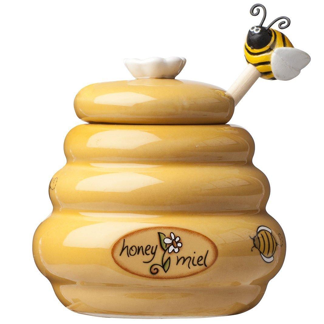 Bee βάζο μελιού με ξύλινο κουταλάκι