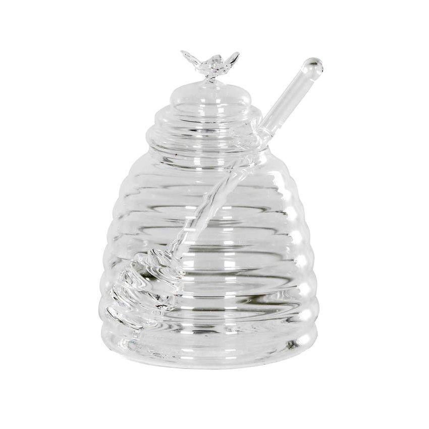 Μελιέρα γυάλινη με γυάλινο κουτάλι