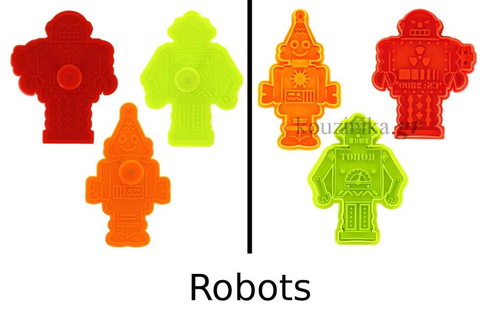 Κουπάτ για μπισκότα σετ 3 σχέδια - Robots