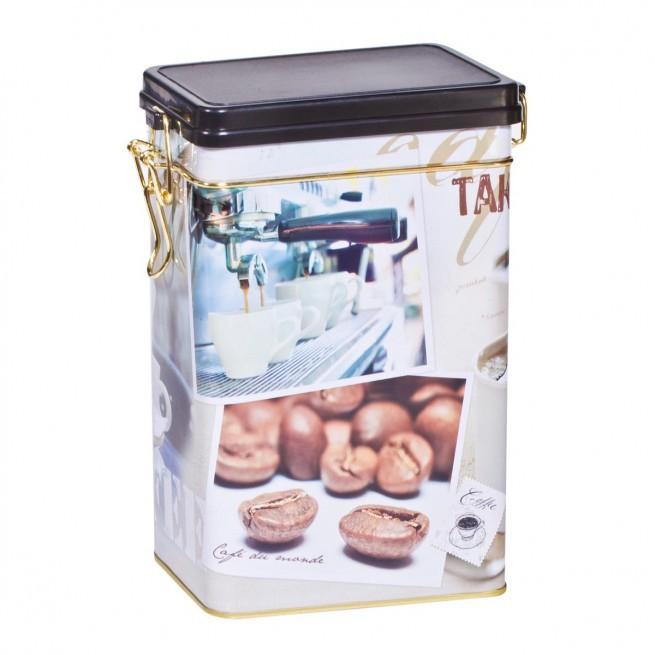 Coffee μεταλλικό κουτί ορθογώνιο με κούμπωμα ασφαλείας