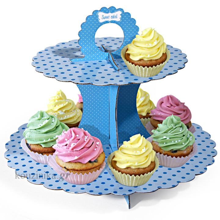 Διώροφη βάση παρουσίασης γλυκών χάρτινη