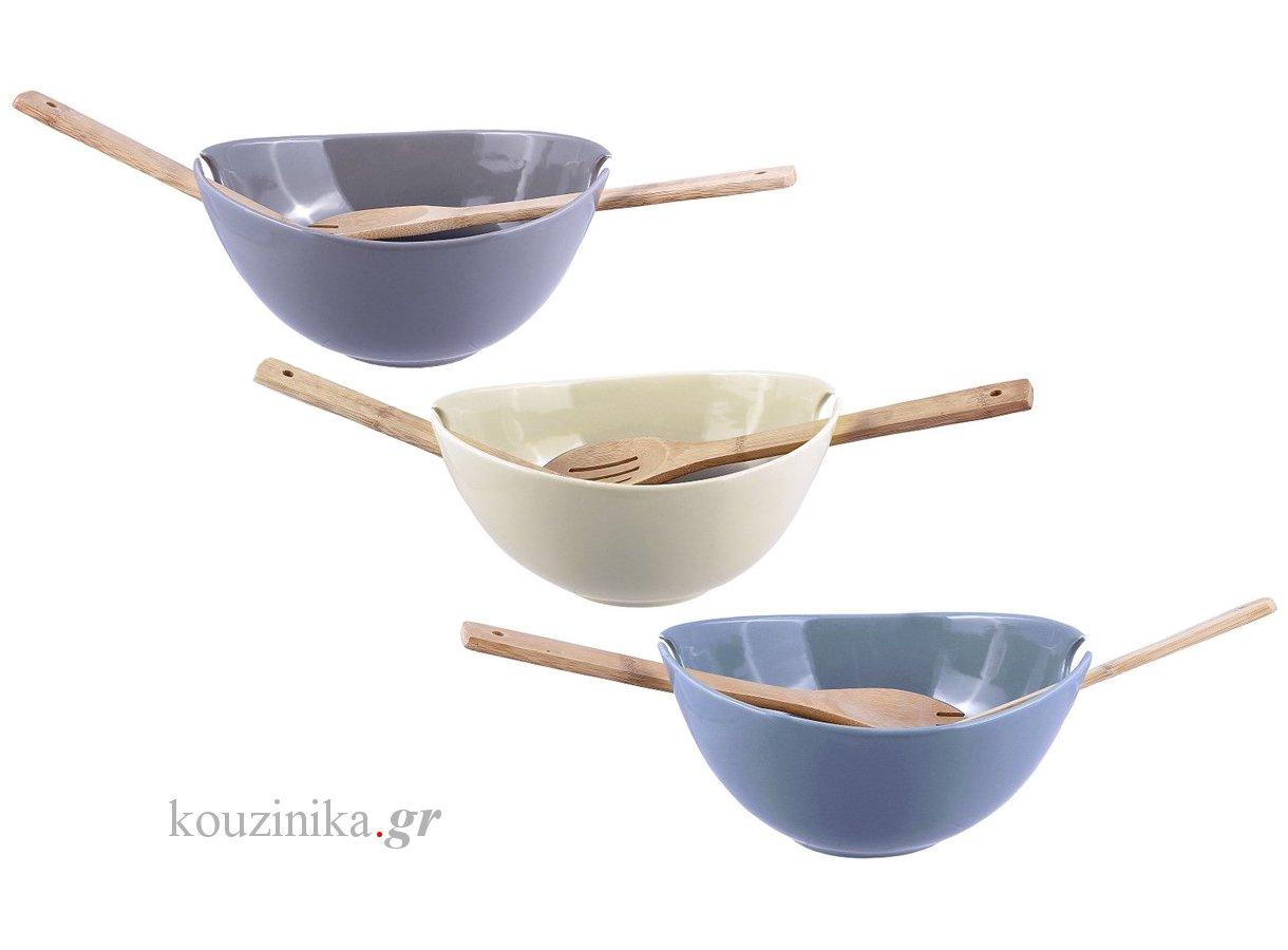 Σαλατιέρα οβάλ 24 cm με 2 ξύλινες κουτάλες