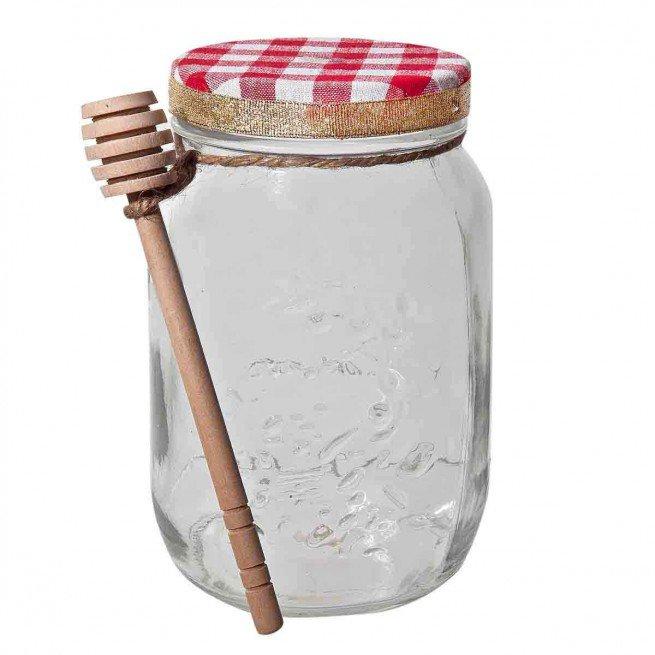 Βάζο για μέλι 1L με ξύλινο κουτάλι μελιού
