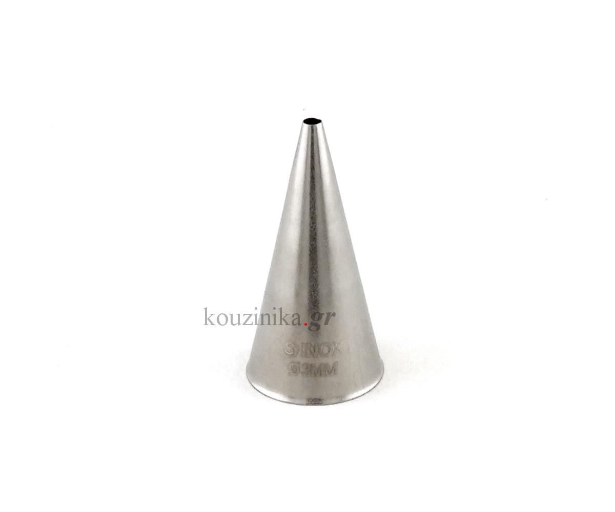 Μύτη κορνέ ανοξείδωτη ίσια 3 mm
