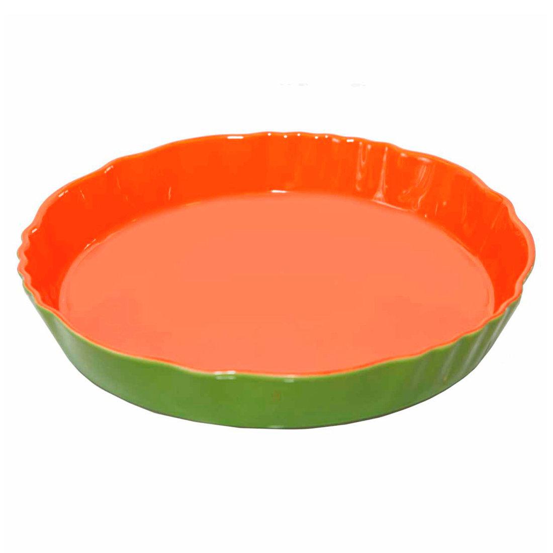 Φόρμα τάρτας πορσελάνη 29 cm πράσινο-πορτοκαλί