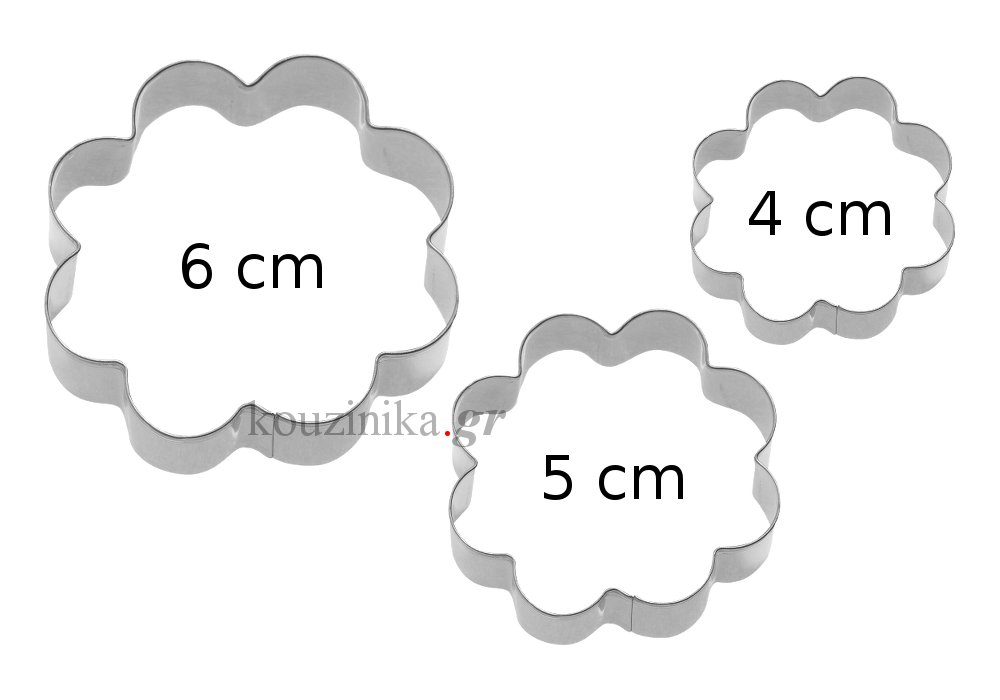 Σετ 3 ανοξείδωτα κουπάτ λουλούδι 4-5-6 cm