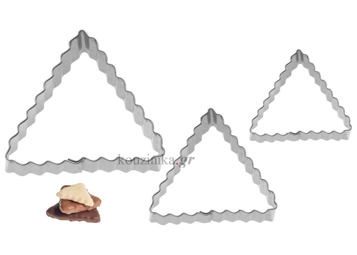 Σετ 3 κουπάτ τρίγωνα κυματιστά 4-5-6 cm