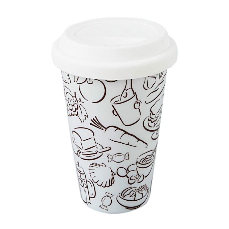 Κούπα Espiel με διπλό τοίχωμα και καπάκι σιλικόνης QIN309