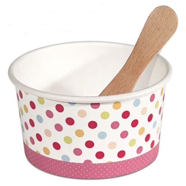 Σετ 12 χάρτινα μπολ παγωτού με ξύλινα κουταλάκια