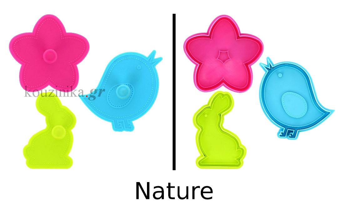 Κουπάτ για μπισκότα σετ 3 σχέδια - Nature
