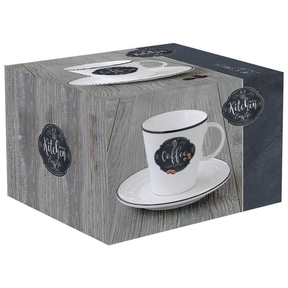 Φλυτζάνι Coffee με πιάτο 300ml Kitchen Basic