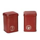 Μεταλλικά δοχεία καφέ-ζάχαρης κόκκινο-χρυσό DEB101