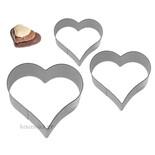 Σετ 3 ανοξείδωτα κουπάτ μικρές καρδιές 2-3-4 cm