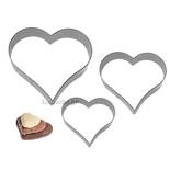 Σετ 3 ανοξείδωτα κουπάτ καρδιά 4-5-6 cm